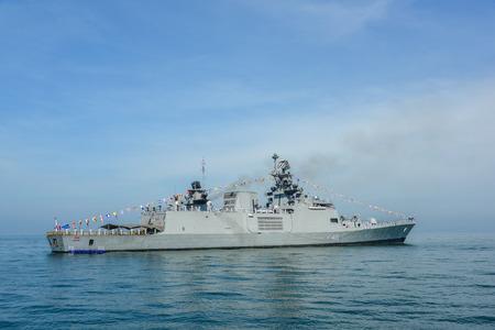 Pattaya, Thailand - November 18, 2017, Navy warship running on sea on the 50th anniversary ASEAN international fleet review 2017 drill in Pattaya, Thailand
