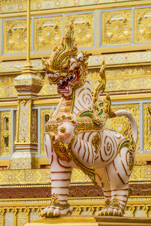 Bangkok, Thailand - December 4, 2017: Lion sculpture, the animal in Thai literature Himmapan to decorate the Royal Crematorium of King Rama IX exhibition