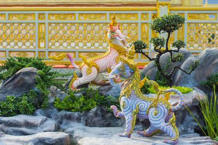 Bangkok, Thailand - December 25, 2017: Elephant sculpture, the animal in Thai literature Himmapan to decorate the Royal Crematorium of King Rama IX exhibition