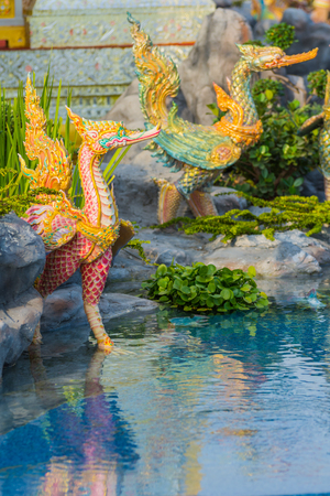 Bangkok, Thailand - December 25, 2017: Creature sculpture, to decorate the Royal Crematorium of King Rama IX exhibition at Sanam Luang, Bangkok, Thailand