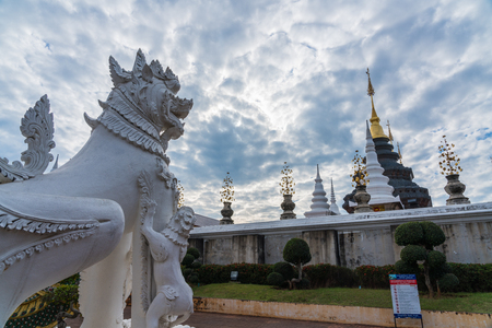 Chiangmai, Thailand _ January 26, 2018: Beautiful Grand Blue temple (Wat Ban Den) decorated with Thai literature animal sculpture in Chiangmai, Thailand
