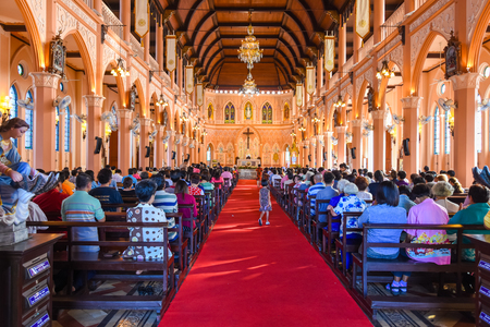 Chantaburi, Thailand - January 1, 2016: Christian people attending religion ceremony in Christ church in occasion of new year festival in Chantaburi, Thailand