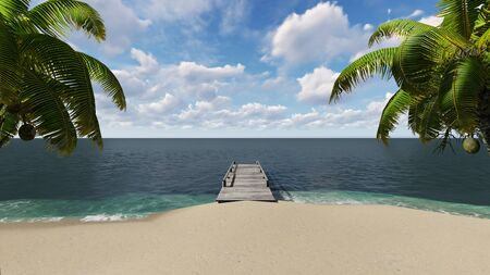 Wooden pier on the beach with palm trees