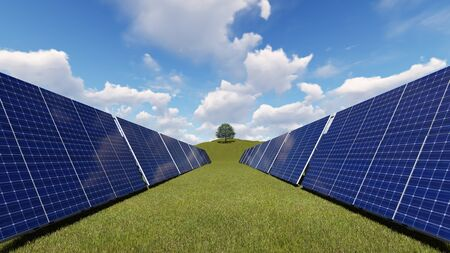 photovoltaic panel: Solar panels against a blue sky with clouds