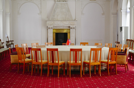 roundtable: Crimea, Livadia - May 14.2012:in this room a round-table in February 1945, held 8 plenary meetings of the Crimean (Yalta) conference heads of the three allied powers USSR, USA, UK.