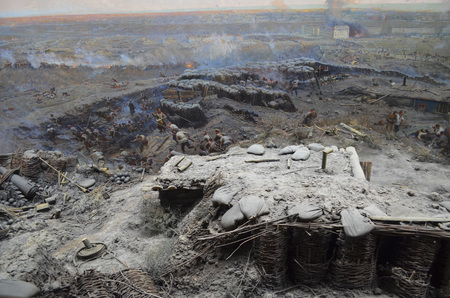onslaught: Crimea, Sevastopol - May 16.2012: battle on Malakhov Hill June 6, 1855. On this day 75000th Russian army successfully repelled the onslaught 173,000th Anglo-French troops.