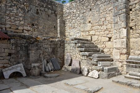 Fragments of the temple Artemis in the Church of St. Nicholas the Wonderworker. Ancient Byzantine Greek Church of Saint Nicholas located in the modern town of Demre, Antalya Province, Turkey