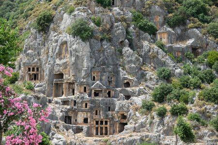 Necropolis of Lycian rock-cut tombs of the ancient city of Myra in Demre, Antalya Province, Turkey