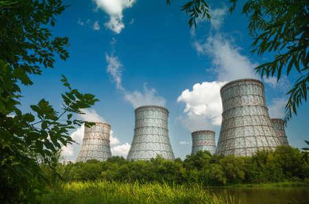 power plant: landscape photo of a nuclear power plant