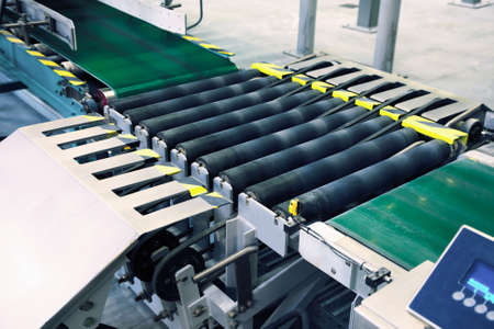 landscape photo of a packaging line conveyor Stock Photo