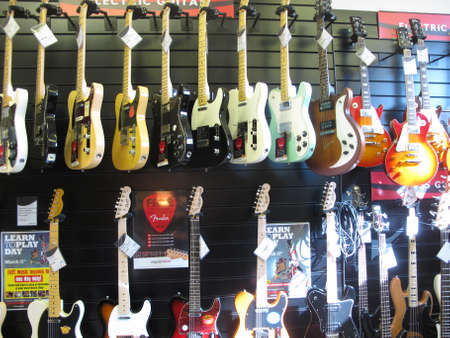 stratocaster: Rows and Rows of Guitars. Editorial