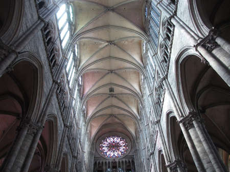 nave: The Interior Nave of Amiens Cathedral, France