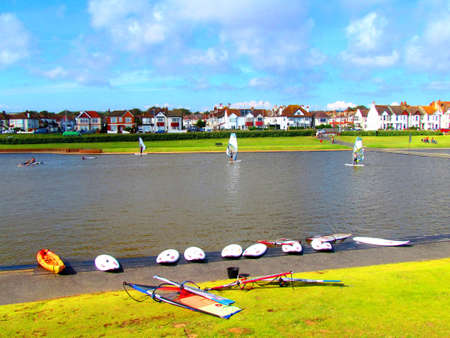 windsurfers: Windsurfers on Water at Hove Lagoon