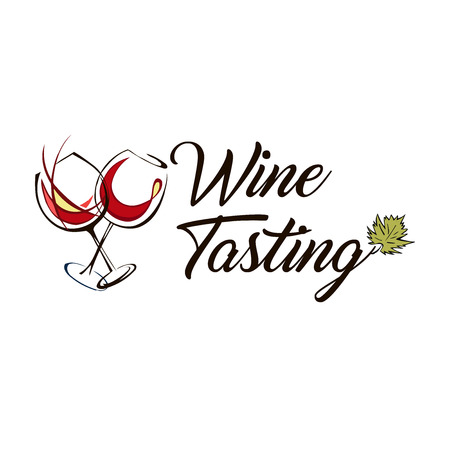 boutique with wine glass. Alcohol tasting. Element of design template for menu of restaurant, bar, cafe. Illustration