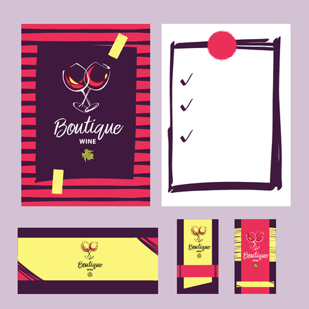 sommelier: wine boutique hand drawn icon with wineglass and green leaf. Element of menu, corporate identity and design template for restaurant, bar, cafe.