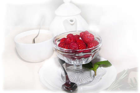 Vase with raspberry in the middle  Stock Photo