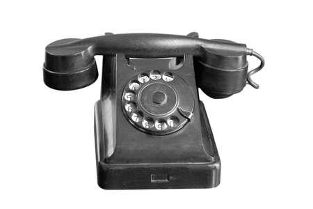 old retro telephone isolated on white background