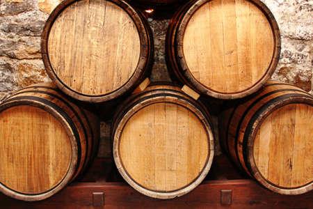 storage of oak wine barrells in a cellar Stock Photo