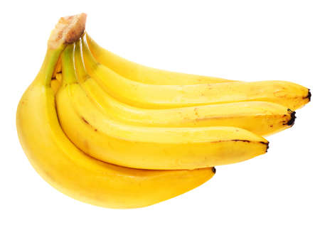 ripen: bunch of well ripen bananas isolated on white