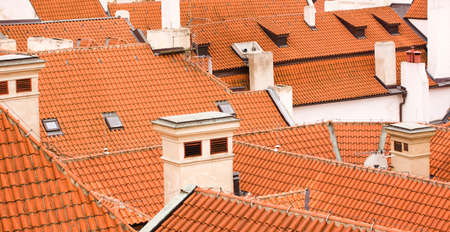 Old tiled roofs in european town