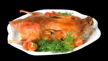 Xmas traditional food - roast duck on dish isolated