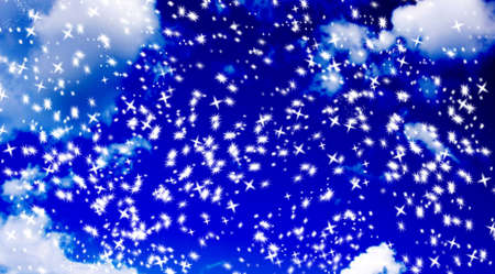 abstract snoflake star background against a blurry blue sky Stock Photo