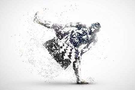 silhouette of a sumo wrestler from particles. Silver light background.
