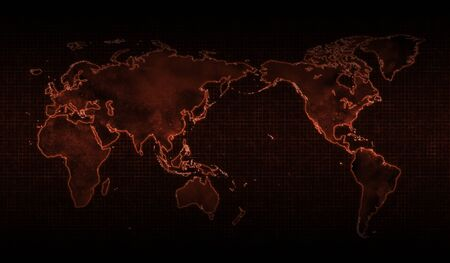 world map of Corona Virus, red background.