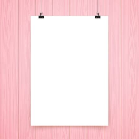 poster on wooden wall, pink and white. vector vector.