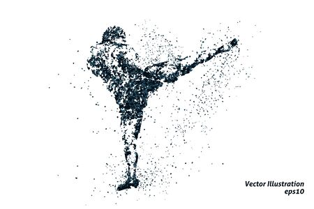 silhouette of a kickboxing from particles 1, bicolor vector illustration. 矢量图像