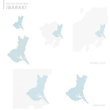 Dotted Japan map set, Ibaraki