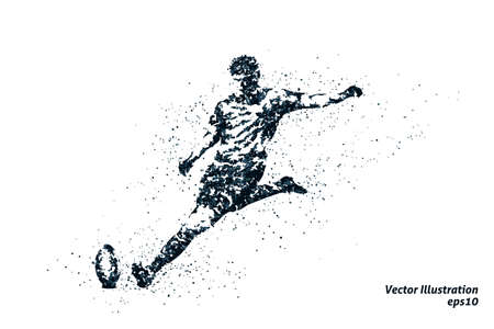 Silhouette of rugby from particles.