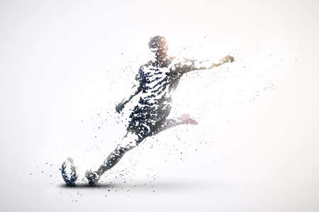 Silhouette of rugby from particles. Silver Light Background.
