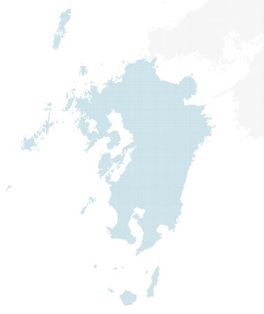 doted Japan map, Kyushu region. large size.
