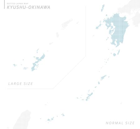 Doted Japan map, Kyushu Okinawa. normal size. Illustration