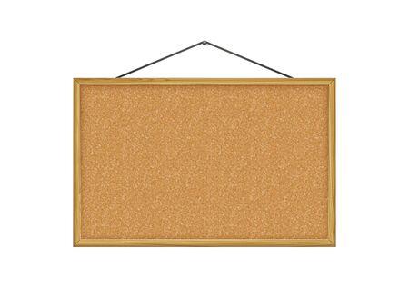 corkboard, brown wood frame, vector illustration.