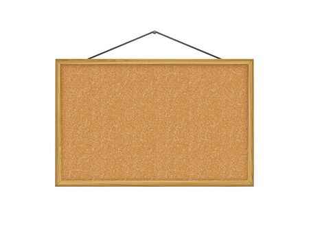 corkboard, brown wood frame, vector illustration.