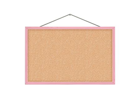 corkboard, pink wood frame, vector illustration.