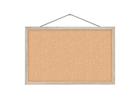 corkboard, white wood frame, vector illustration.
