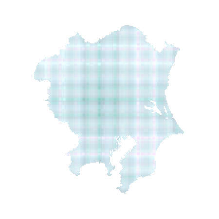 dotted Japan map, Kanto region Illustration