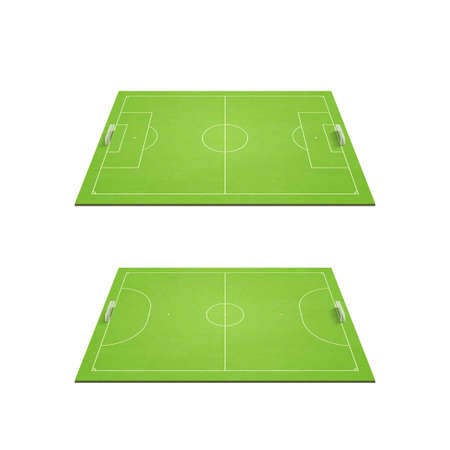 perspective light green football and futsal court set with damage texture. 3d illustration.
