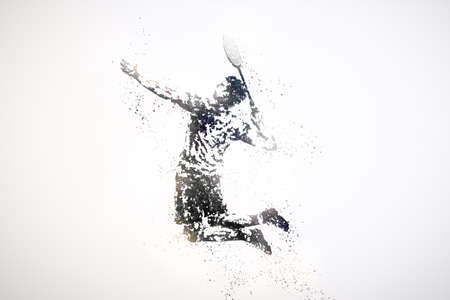 silhouette of male badminton player from particles. silver light background. Stock Photo