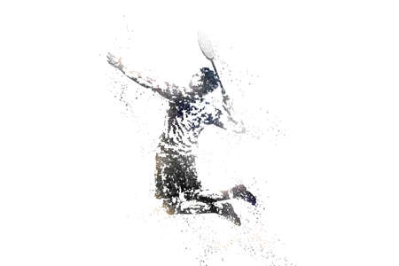 silhouette of male badminton player from particles. white background.