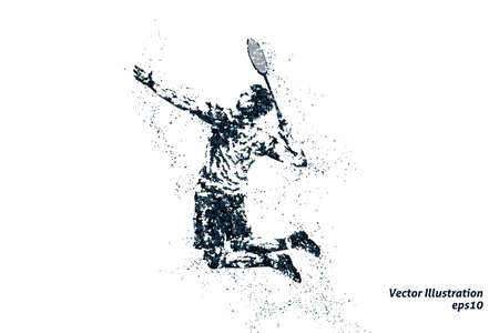 silhouette of male badminton player from particles. bicolor vector illustration.