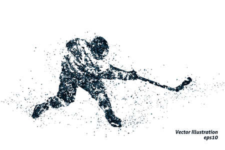 silhouette of ice hockey from particles 1. bicolor vector illustration.