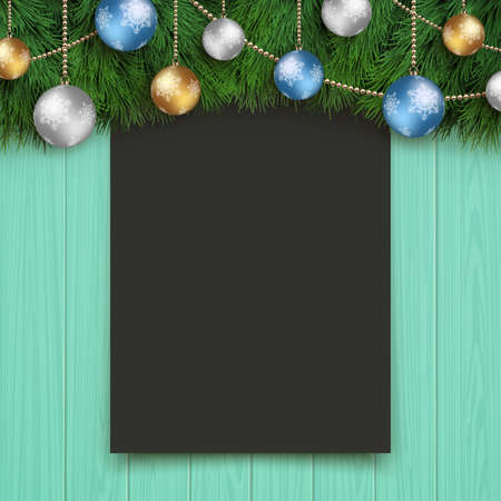 Christmas board template. Plain black board on a turquoise wooden wall.
