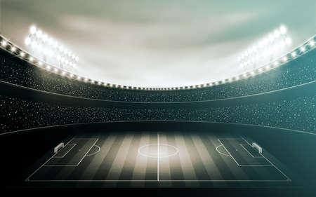 Illuminated black and white football stadium. sepia