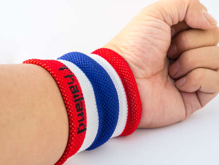 wristband: the wristband have colourful made of a towel-like terrycloth material. These are usually used to wipe sweat from the forehead during sport, or as a badge or fashion statement.