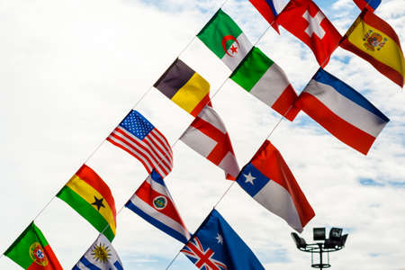 National Flags under the blue sky photo