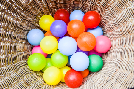 color balls: color balls in basket Stock Photo